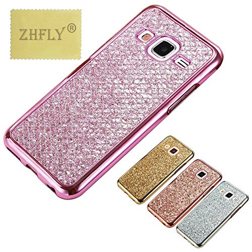 Bling Phone Covers - J3/J3 2016/J3 V/J3V/Amp Prime/Express Prime Glitter TPU Case,ZHFLY Premium Electroplated Bumper Bling Soft Cover Case for Samsung Galaxy J3 2015, J3 2016, J3 V, J3V, Amp Prime, Express Prime, Pink