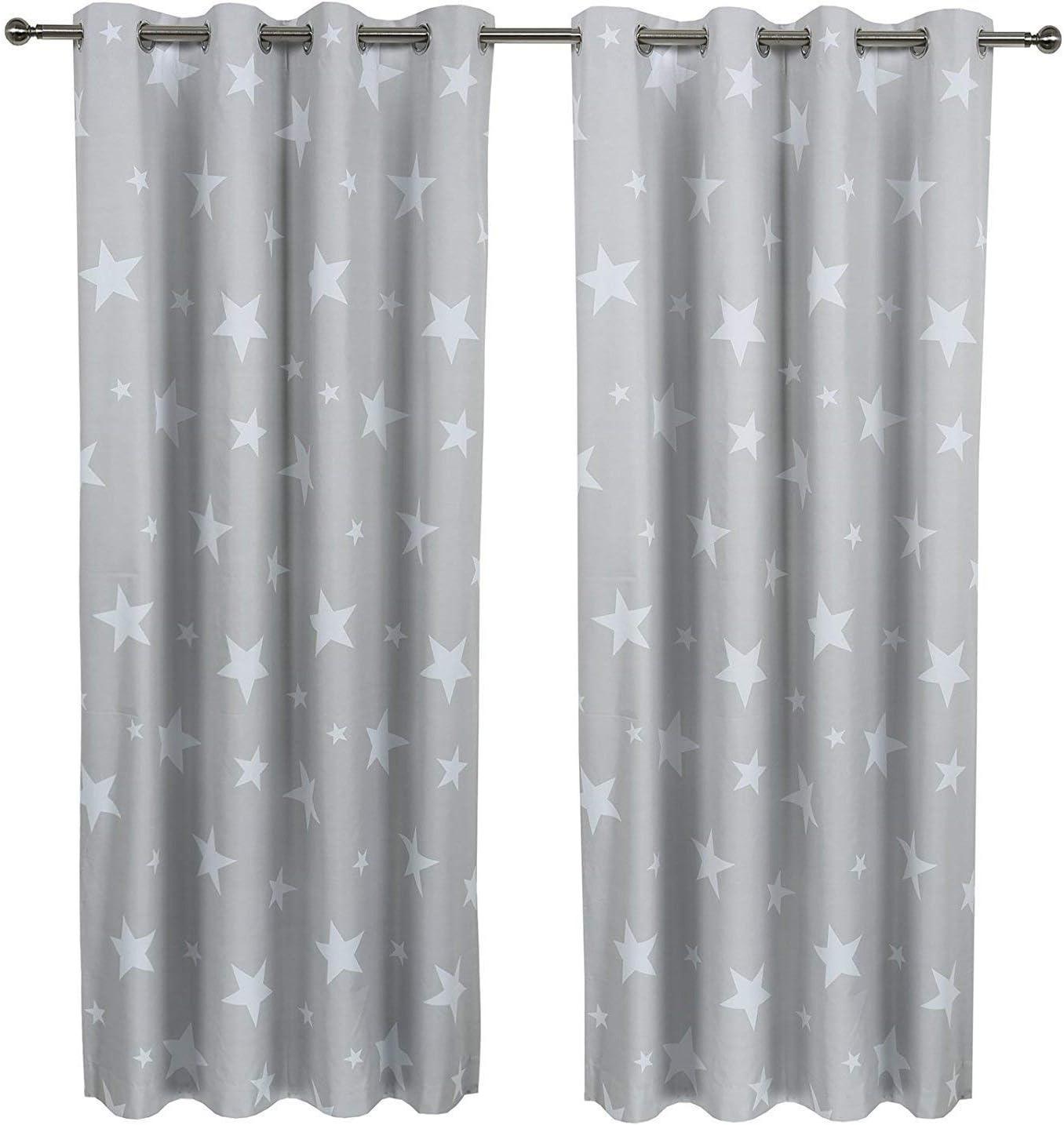 "SHERWOOD 1 Pair Children Star Curtain Coated Blockout Eyelet Window Drape Panel Kids Bed Room Livingroom 46"" Width 54"" Drop"