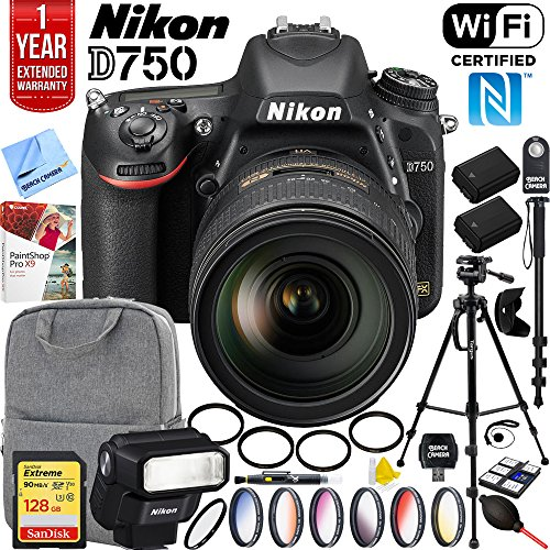 Nikon D750 DSLR 24.3MP Digital Camera w/AF-S NIKKOR 24-120mm f/4G ED VR Lens Nikon SB-300 Speedlight Flash and Sandisk 128GB SDXC Memory and Pro Accessory Bundle