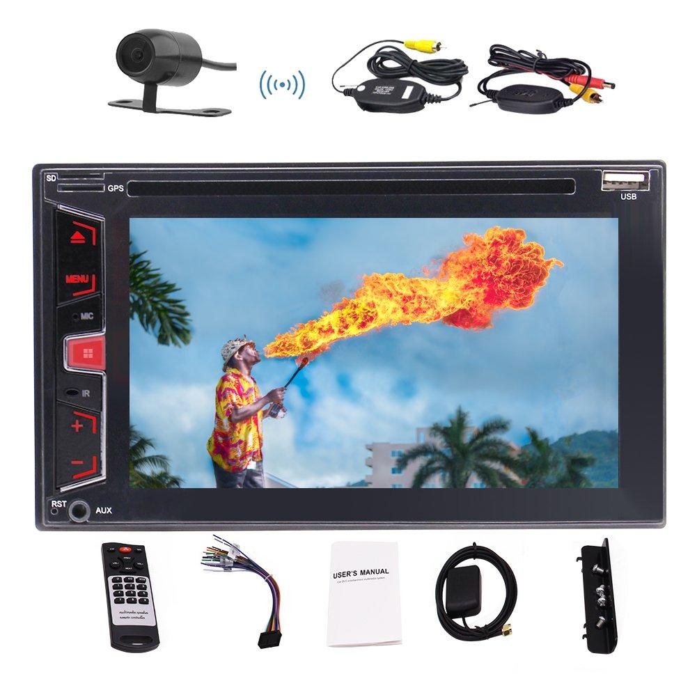 ハイレゾリューションオーディオ1080Pビデオのバックアップカメラ+ワイヤレスリモート+ SWCと最新のEincarダブルDINインダッシュCD / DVD / MP3 / USB / TFブルートゥースAM / FM / RDSのカーステレオラジオレシーバーGPSナビゲーション B079K773MV