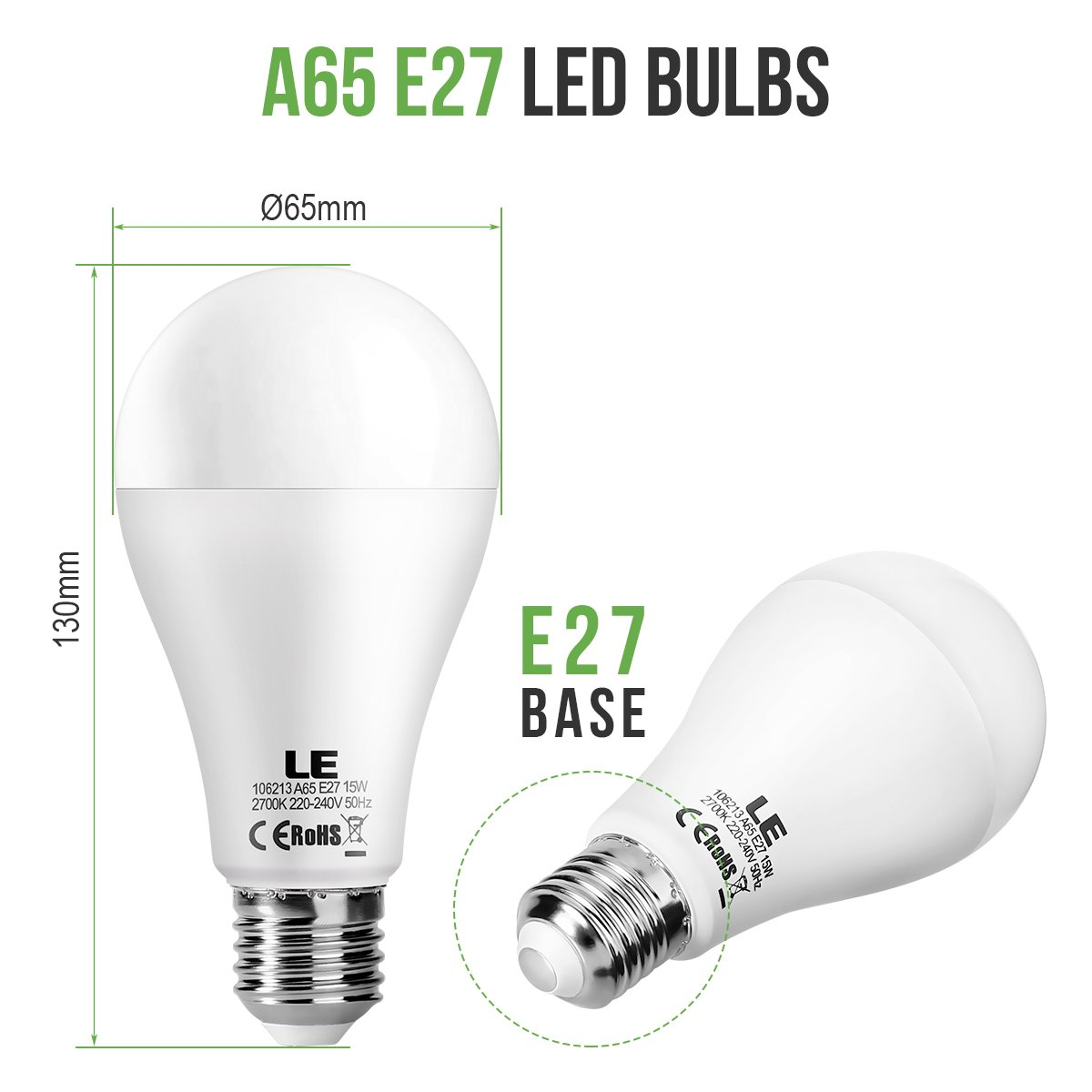 LE Bombillas LED E27 15W, Luz blanca cálida 2700K, Casquillo E27 estándar, no regulable, Iluminación principal, Pack de 2: Amazon.es: Iluminación