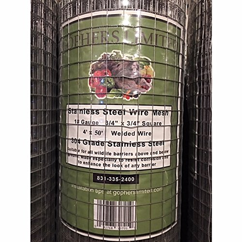 Gophers Limited Stainless Steel Wire Mesh 18 Gauge, 3/4 Inch Square, 50 foot x 48 inch by Gophers Limited (Image #2)