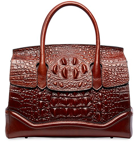 PIFUREN Crocodile Handbag Genuine Cow Leather Shoulder Top Handle Bag M1105 (One Size, Brown) by PIFUREN (Image #3)