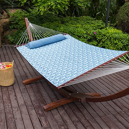 LazyDaze Hammocks 55inch Quilted Fabric Hammock With Pillow Double Size Spreader Bar Heavy Duty Stylish ,Palm Bay Light Blue Image