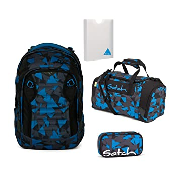 018f449594f6c Satch MATCH by Ergobag Blue Triangle 4-tlg. Set Schulrucksack + Sporttasche  + Schlamperbox