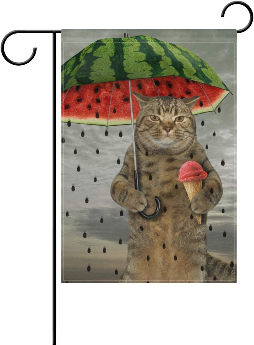 ZZKKO Double Sided The Cute Cat is Holding Watermelon Umbrella Fruit and Ice Cream Polyester Garden Flag Banner 12 x 18 Inch for Outdoor Home Garden Flower Pot Decor