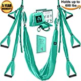 Aerial Yoga Swing Set - Yoga Hammock - Aerial Trapeze Kit + 2 Extension Straps & eBook - Large Flying Yoga Inversion Tool - Anti-Gravity Hanging Yoga Sling - Indoor Outdoor Fly Yoga - Men Women Kids