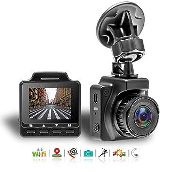 Podofo Cámara de coche 1080P FHD DVR integrada WiFi GPS para coche con sensor Sony 145° gran angular DVR G-sensor detección de movimiento, vigilancia de ...