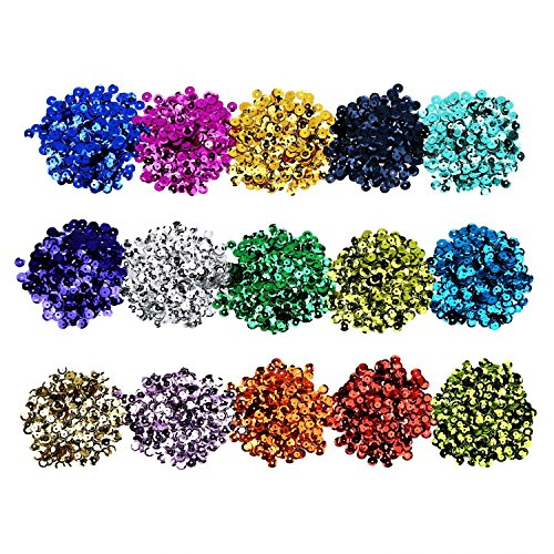 Shappy 150 g Loose Sequins Bulk, 6 mm Flat Round Cup Sequin Assorted Colors Iridescent Spangles for DIY Craft Making Embroidery Applique, 15 Colors