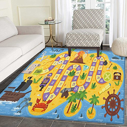 Kids Activity Rug Kid Carpet Finding Treasure of the Pirate Themed Board Game Style Colorful Island Map Home Decor Foor Carpe 2'x3' Multicolor