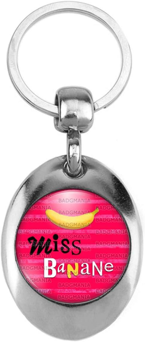 Humour Femme Id/ée Cadeau Badgmania Porte-Cl/és M/étal 2 Faces Miss Banane Fruit Banane sur Rouge