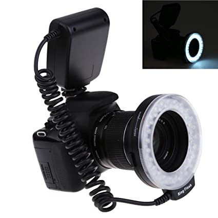 VKtech Ring-flash anular a 48 LED, color naranja, azul, funda ...