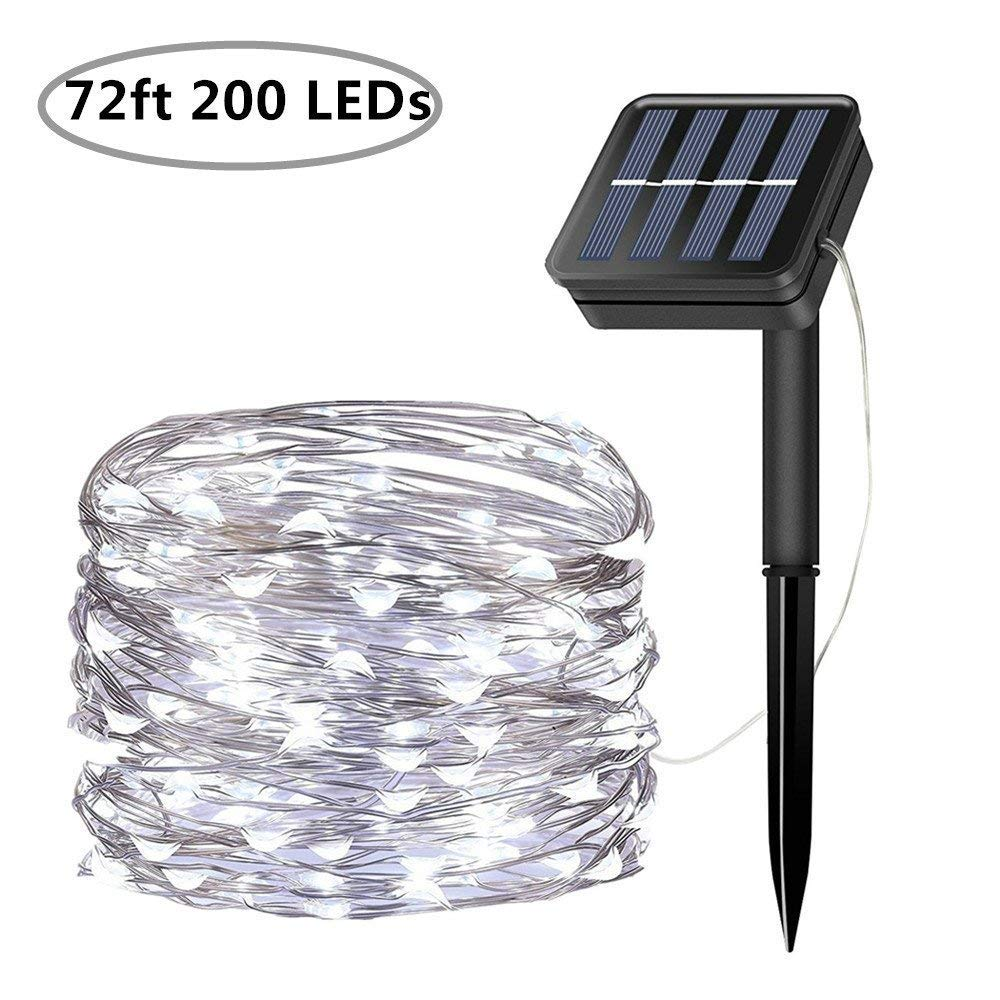 Solar String Lights 200 LED Solar Fairy Lights 72 Feet 8 Modes Silver Wire Lights Waterproof Outdoor String Lights for Garden Patio Gate Yard Party Wedding Indoor Bedroom Cool White
