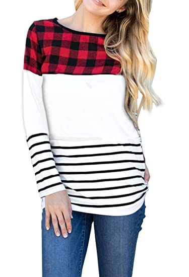 edee44279f67b Merryfun Women s Color Block Plaid Tunic Tops Striped Long Sleeve Casual  Thick Shirt Blouse Wh