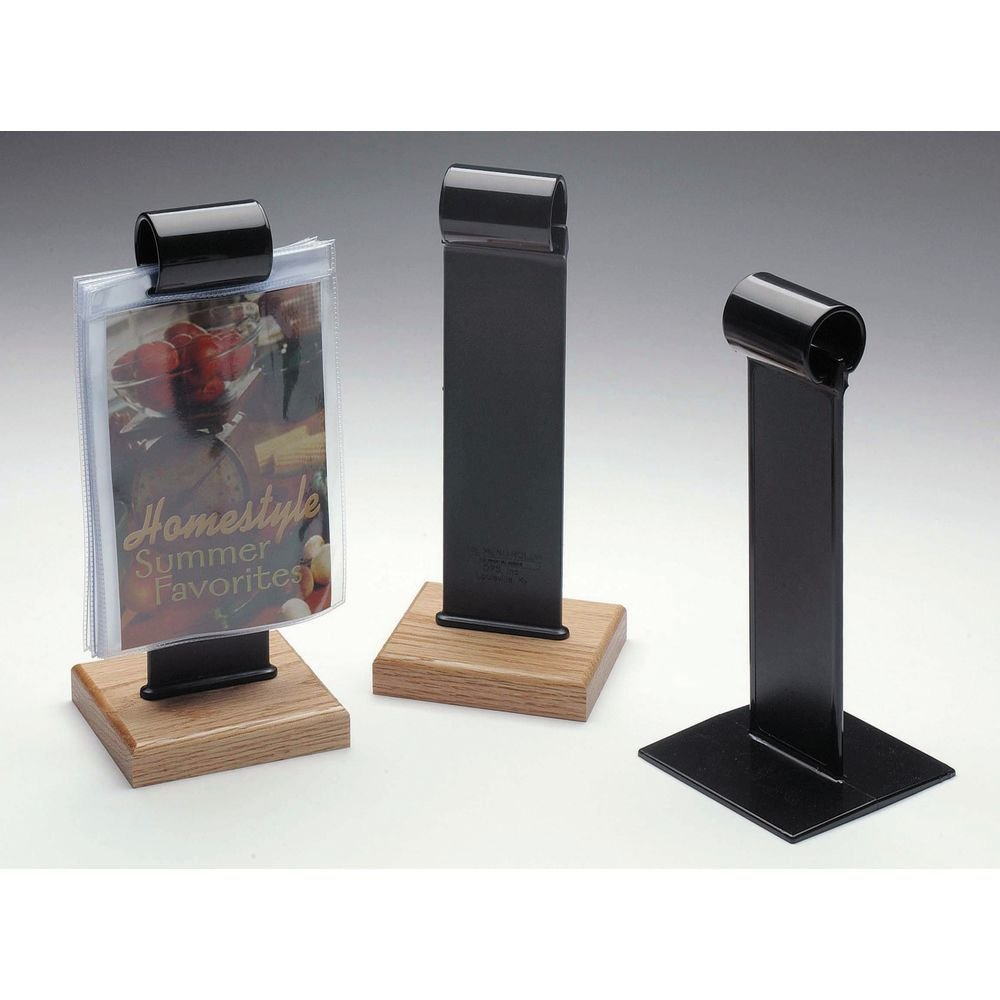 OPS Displays Menu Roll Sign Holder With Wood Base Black Plastic - 4'' L x 4'' W x 9'' H
