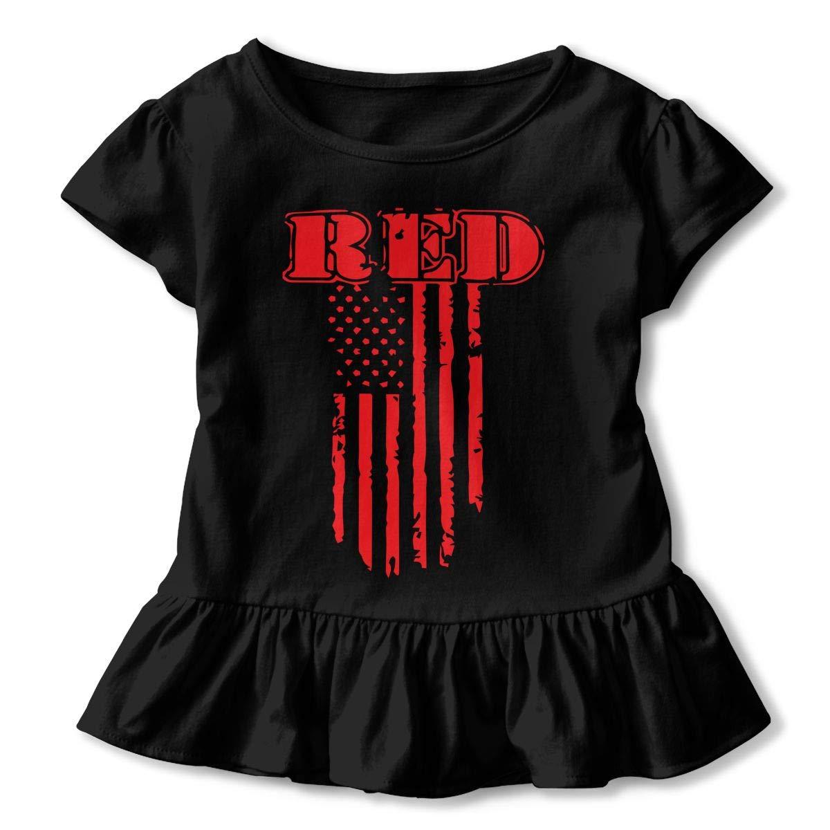 Remember Everyone Deployed Red Friday Shirts Kids Girls Short Sleeve Ruffles Shirt T-Shirt for 2-6T