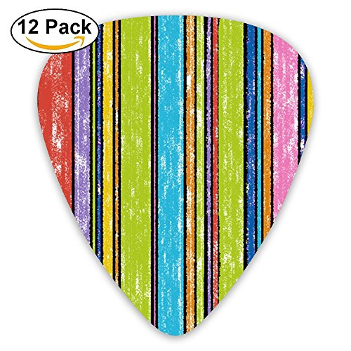 Crayon Day Stripes Color Funny Pattern Fashion Guitar Picks 351 Shape Classic Picks Celluloid Bakelite Guitar Picks Best Gifts For Men Women Guitarist Include 0.46mm, 0.71mm, 0.96mm 12-Pack