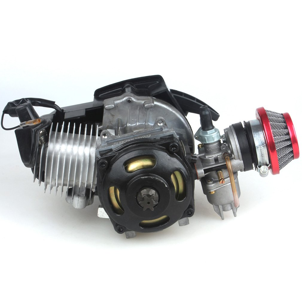 49CC 2-Stroke Engine + Handle Bar+ Throttle Cable +Air Filter Motor Pocket Mini Bike Scooter ATV 6T T8F Chain 44MM Bore by Wingsmoto (Image #3)