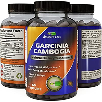 New!! 95% HCA Garcinia Cambogia Extract - Natural Weight Loss Supplement - Highest Dosage & Formula - Guaranteed By Biogreen Labs