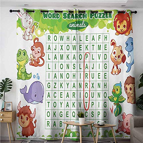 Willsd Blackout Curtains,Word Search Puzzle Educational Game for Kids Children Cute Sweet Animals Worksheet Print,Curtains for Living Room,W120x72L,Multicolor -