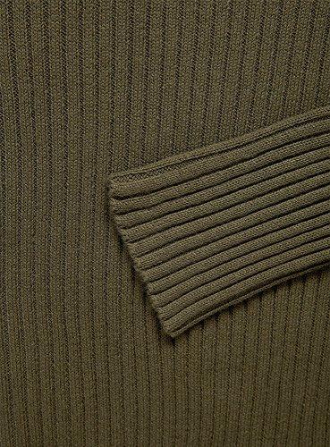 oodji Ultra Mujer Jersey Ajustado de Punto Texturizado Verde (6900N)