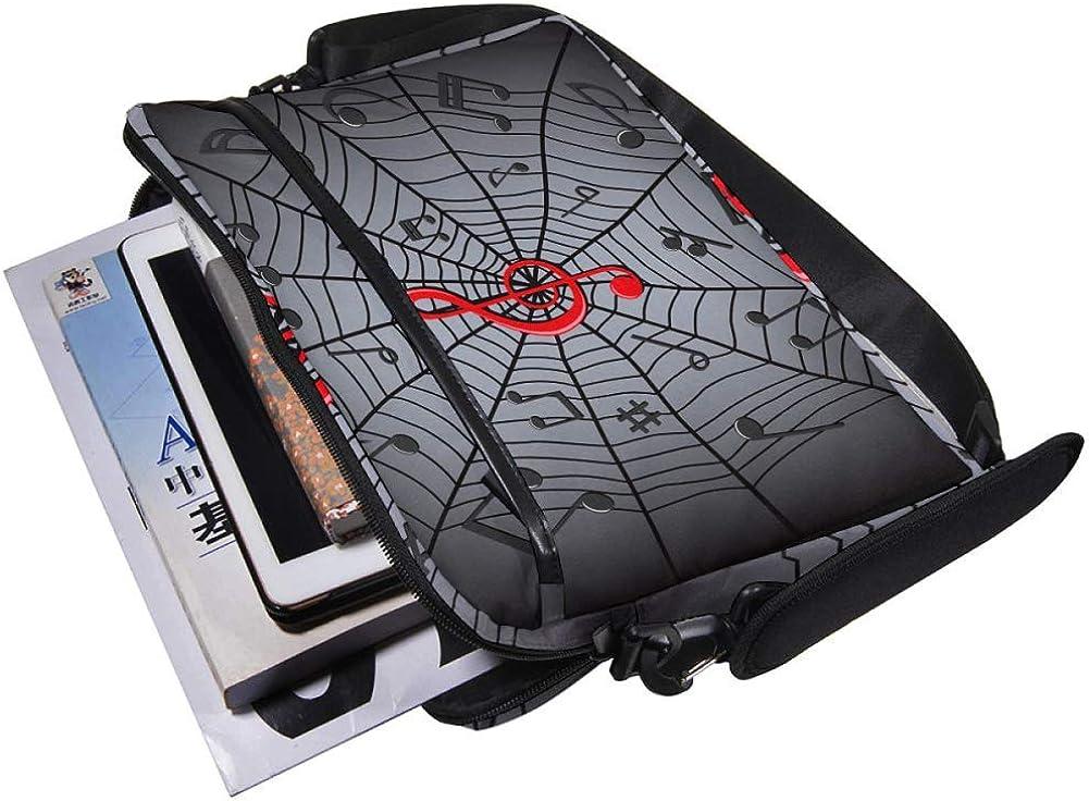 Lightweight 15 inch Laptop Bag Business Messenger Briefcases Music Notes And Spider Web Waterproof Computer Tablet Shoulder Bag Carrying Case Handbag for Men and Women