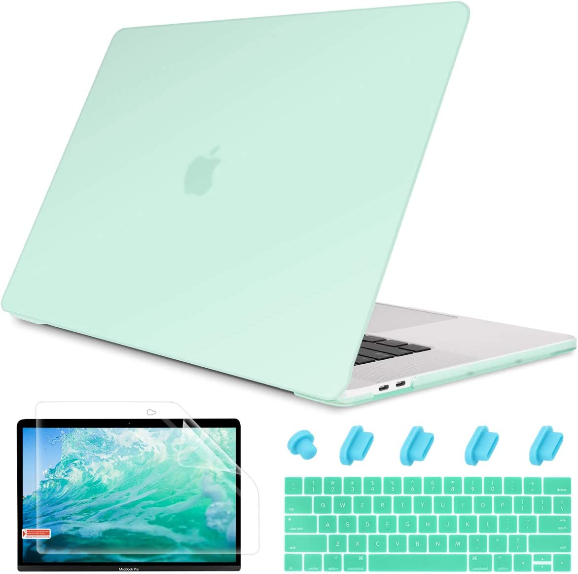 May Chen MacBook Pro 13 Inch Case 2019 2018 2017 2016 A2159 A1989 A1706 A1708, Hard Shell Case with Keyboard & Screen Cover & Dust Plug for Apple Mac Pro 13 Touch Bar, Green