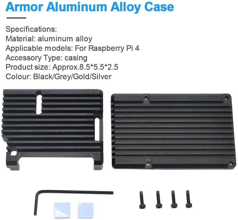 Dailyfun Armor Case for Raspberry Pi 4 Model B Acrylic Aluminum Alloy Cooling Case Passive Cooling Shell Metal Enclosure Heat Dissipation Black//Grey//Gold//Silver