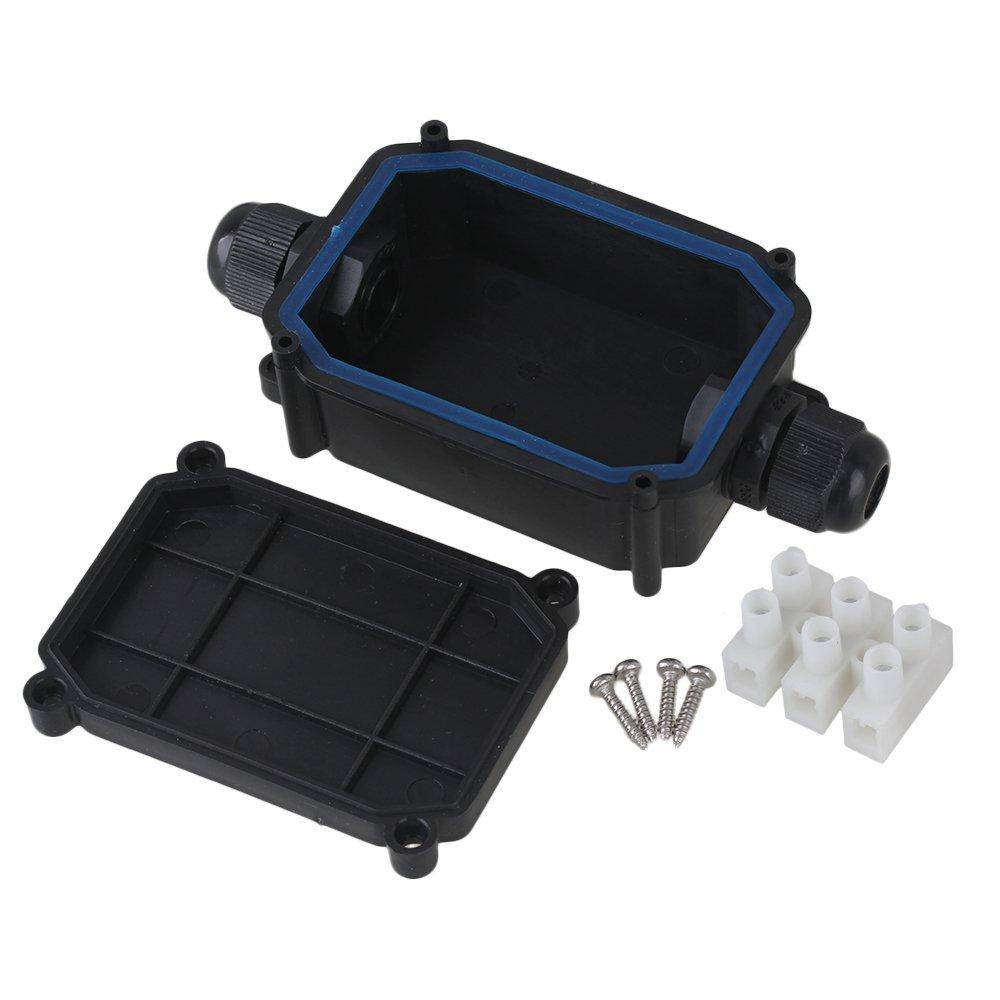 CNBTR IP66 Kabelmuffe, wasserdicht, Kunststoff, Verteilerdose für 2 Kabel mit Anschluss, schwarz, schwarz