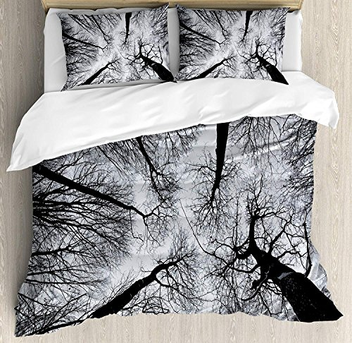 Libaoge 4 Piece Bed Sheets Set, Scary Winter Tops of the Trees Dark Dramatic Silhouettes Enchanted Nature Image, 1 Flat Sheet 1 Duvet Cover and 2 Pillow (Enchanted Duvet Cover Set)