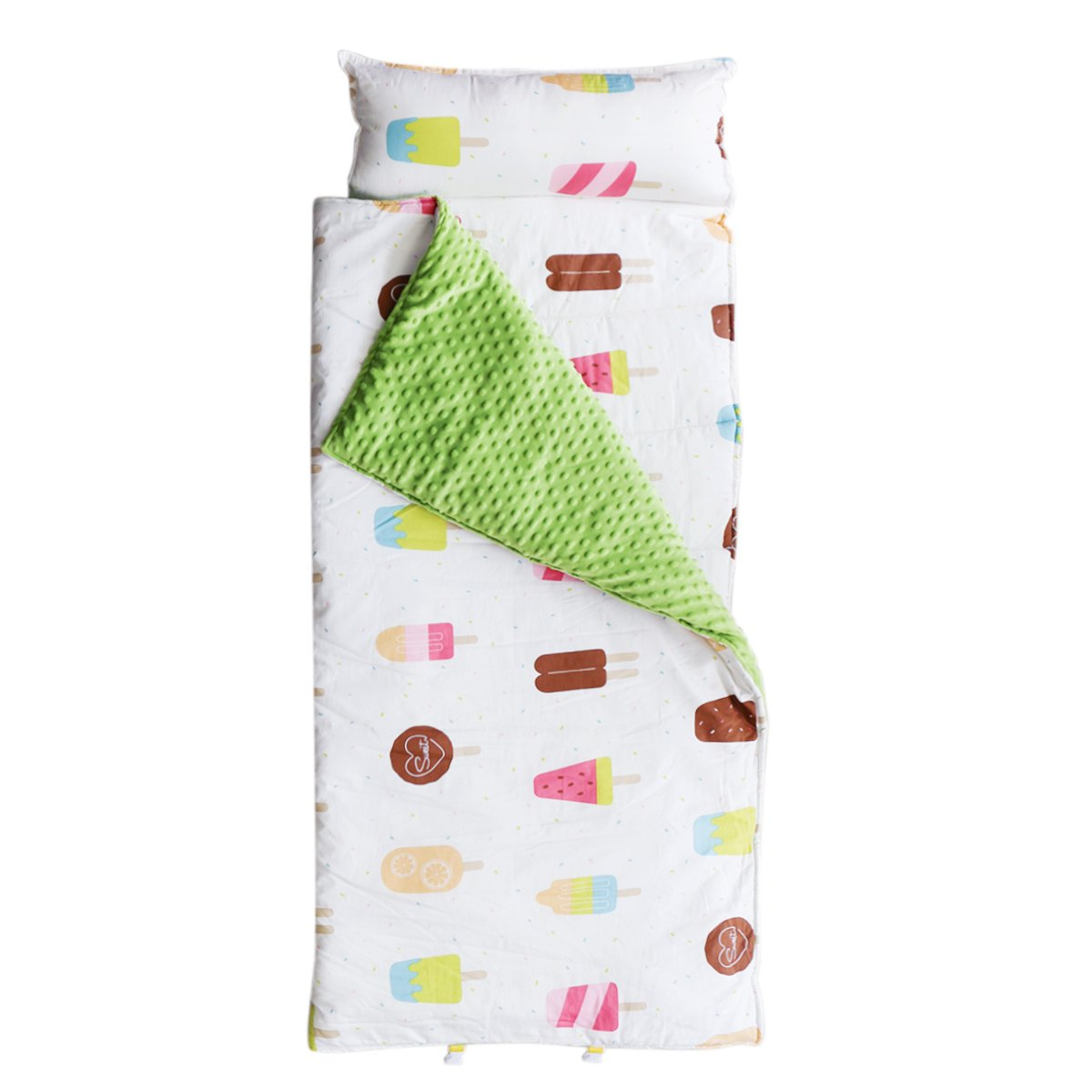 Hi Sprout Kids Toddler Lightweight and Soft Nap Mat- Minky Dot& Cotton-Ice cream