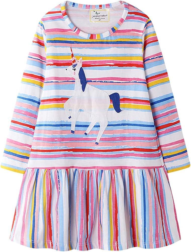 Bleubell Girls Dinosaur Dress Fun Printed for Toddlers Tweens 2-12Y