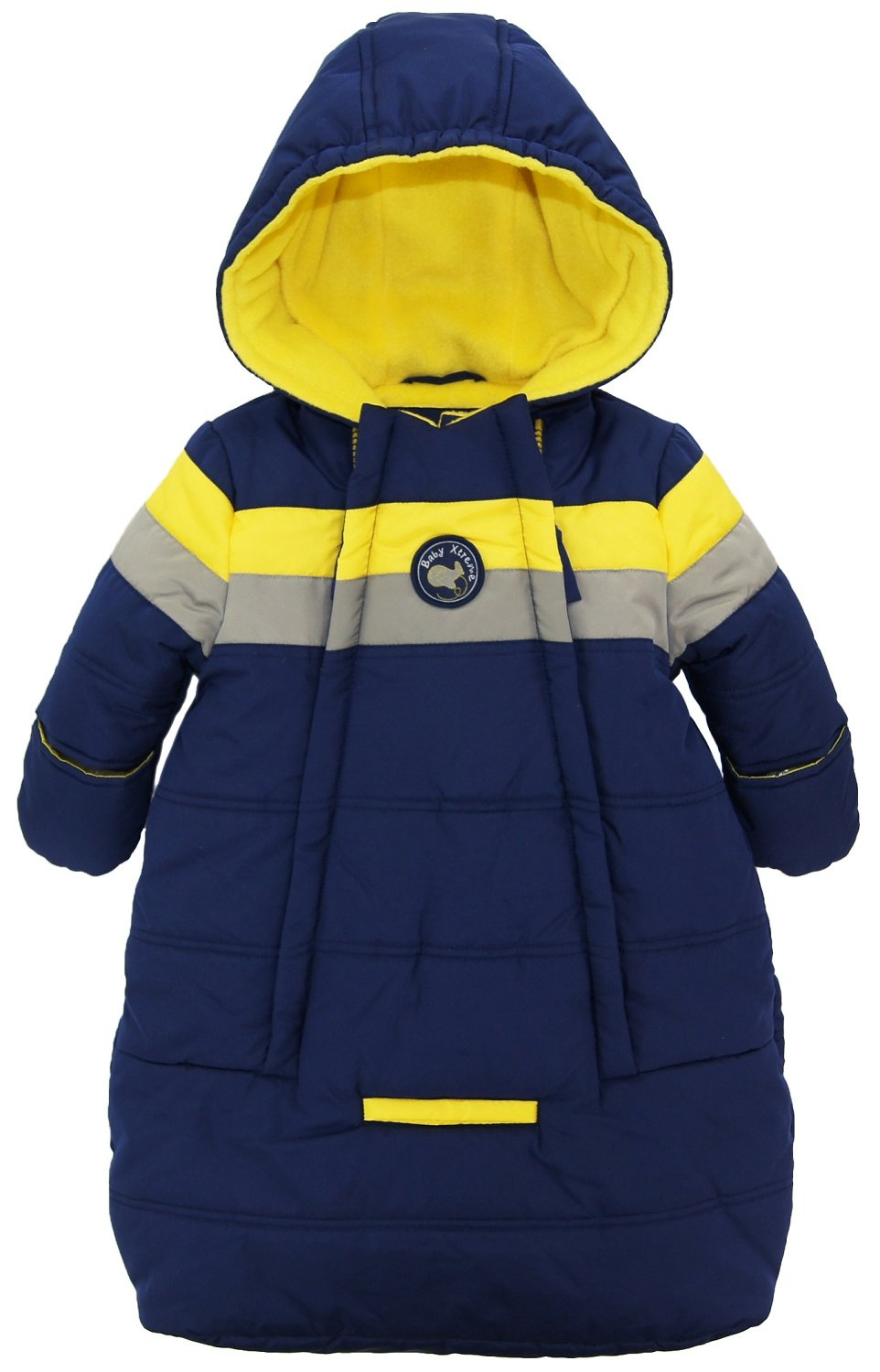 iXtreme Baby Boys Snowsuit Colorblock Stripes Puffer Carbag, Navy, 6-9 Months