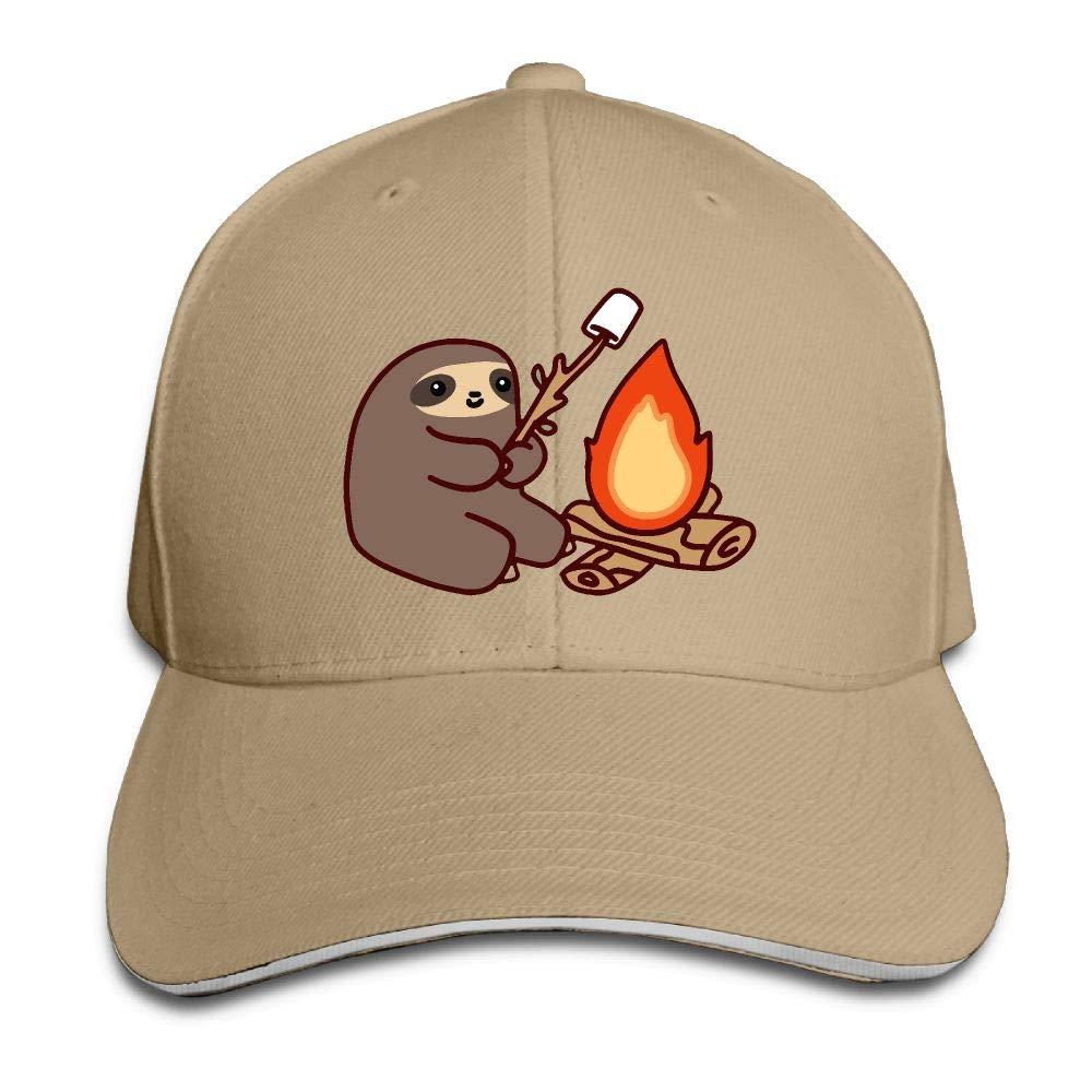 JustQbob1 Campfire Sloth Outdoor Snapback Sandwich Cap Adjustable Baseball Hat Street Rapper Hat