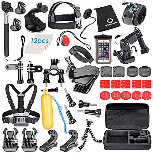 VanteexPro 56-in-1 Accessories Kit for Gopro Hero 7 6 5 4 3+ 3 2 1 Session Black Silver Sport Camera Accessories Bundle
