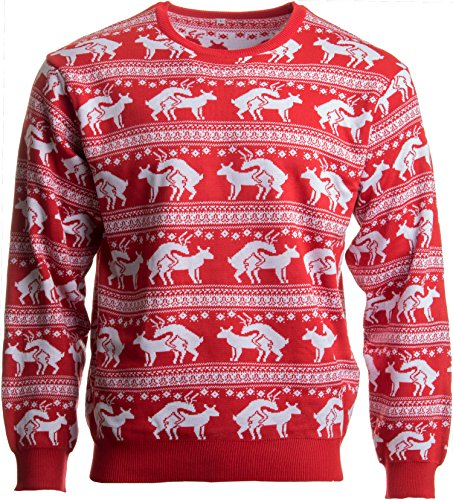 Reindeer Humping Ugly Christmas Sweater w/Holiday Insertion & Christmas Dongs - (L, -