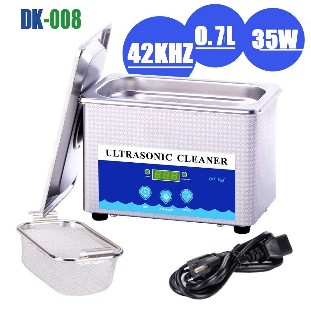 Digital Ultrasonic Jewelry Cleaner with Digital Timer 800mL 42KHz Ultrasonic Cleaner for Eyeglasses Basket for Parts Denture for Gun Blade,Diamond Ring Cleaner -Jewelry Cleaner Ultrasonic Machine by HC