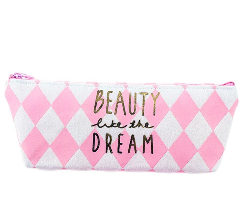 Cosanter matita del sacchetto della custodia carino tela rosa modello di griglia per occhiali da trucco per donne ragazze