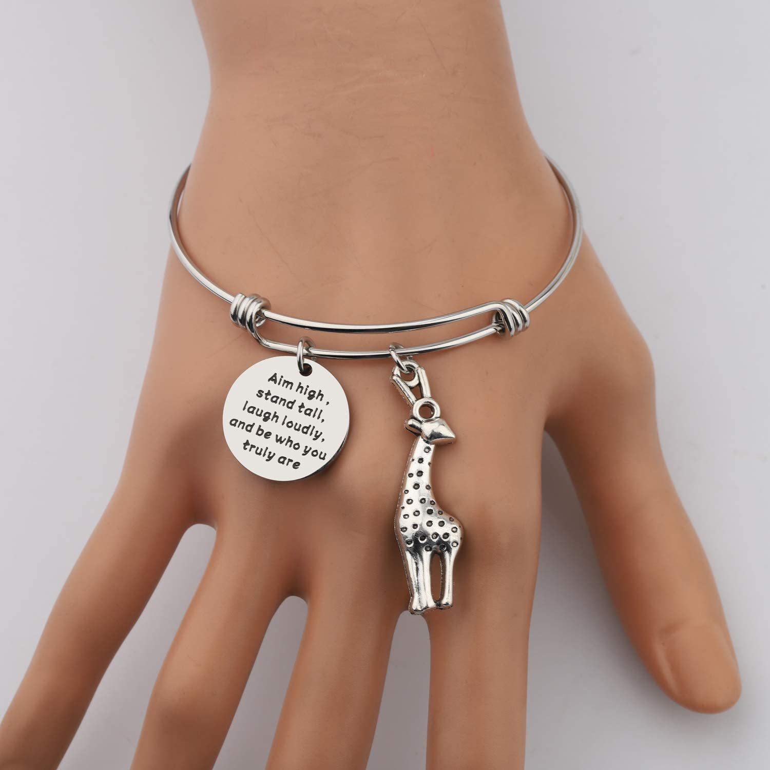 AKTAP Giraffe Gifts Giraffe Jewelry Aim High Stand Tall Laugh Loudly and Be Who You Truly are Giraffe Keychains Inspirational Gifts
