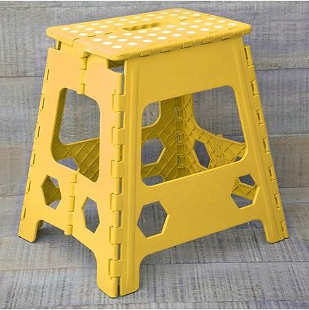 blu//bianco robusto e compatto 22 cm in plastica antiscivolo per bambini e adulti con maniglia per il trasporto per casa Sgabello pieghevole resistente GLOW cucina e posto di lavoro