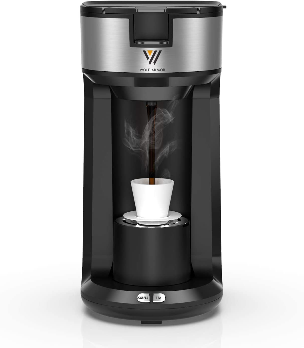 WOLF ARMOR Single Serve Coffee Maker for K Cup Pods, Coffee Grounds & Tea, 3-IN-1 Thermal Drip Instant Fast Brewing Coffee Machine with Self Cleaning Function, 6 to 14 Oz Brew Strength Control