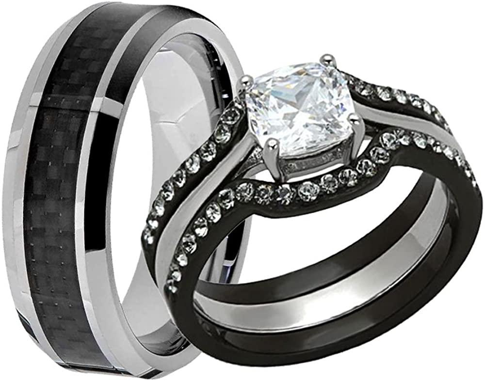 Amazon Com Flamereflection Couple Ring Bridal Set His And Hers