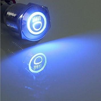 Amazon Com Etopars 12v Car Blue Led Light Main Beam Push Button