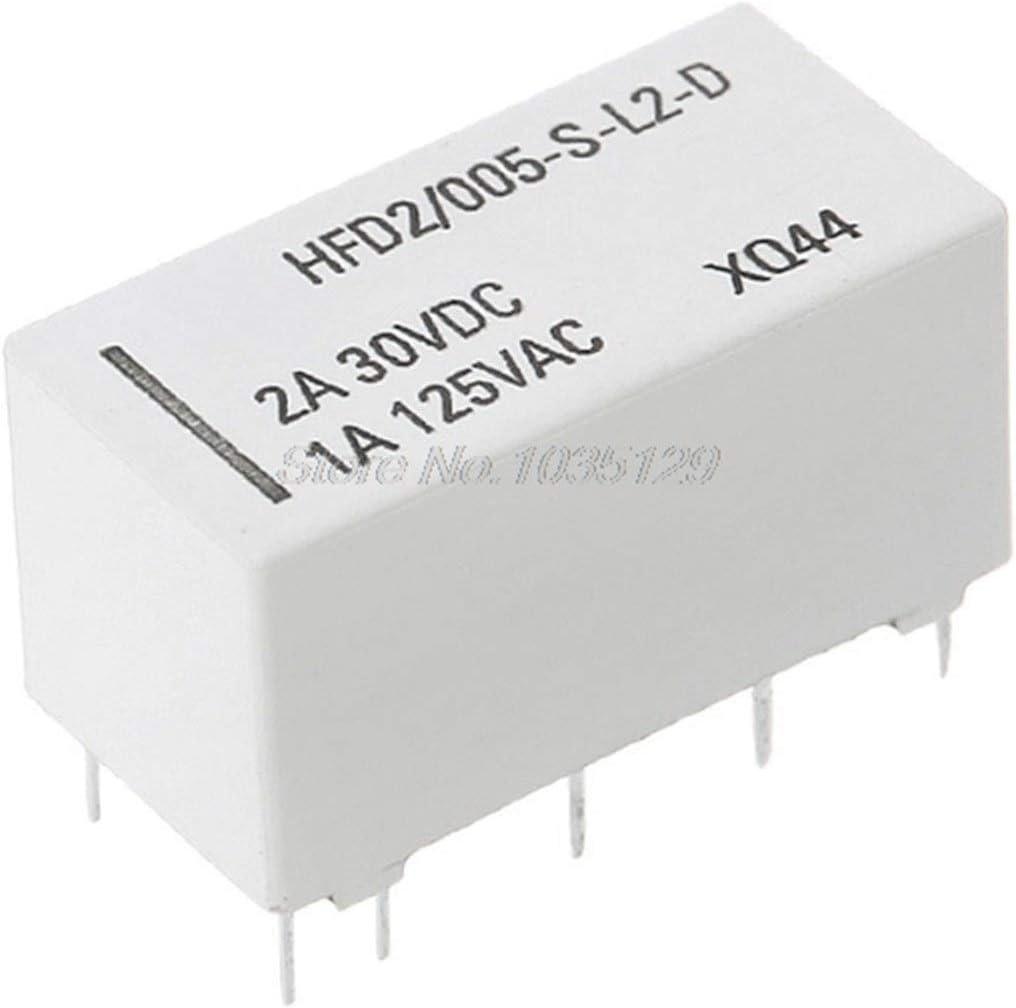 12V Coil biestable Enclavamiento Relay DPDT 2A 30VDC 1A 125VAC HFD2 / 005-S-L2-D Realy amp; Nave de Descenso