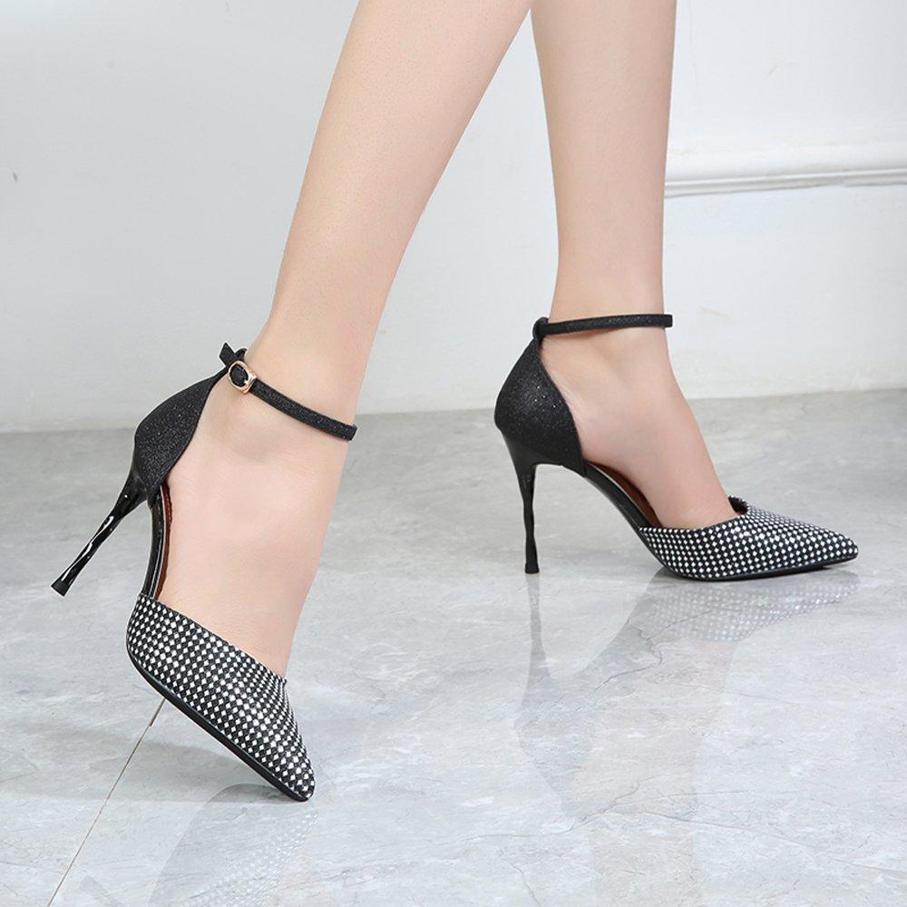 Damens Es High Heels PU Sexy Mode Flachen Spitze Mund Spitze Flachen Stiletto Heels Sandalen Brautjungfer Schuhe Braut Hochzeit Schuhe Pumps Schwarze Ferse Hoch 9,8 Cm - 35f6d6