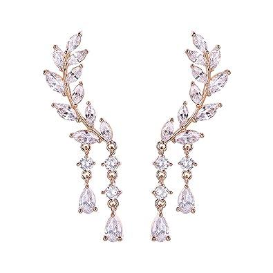 EAR VINES CZ Crystal Leaves Ear Cuffs Climber Earrings Ear Wrap Pins 1 Pair E5Y3T9A