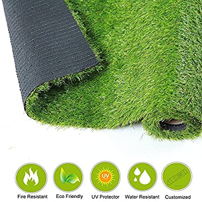 QYH Artificial Grass Mat Fake Grass Turf Green Lawn Carpet Indoor/Outdoor 30mm Pile Height Synthetic Grass Rug for Patio Garden Pet Dog Area Realistic Looking