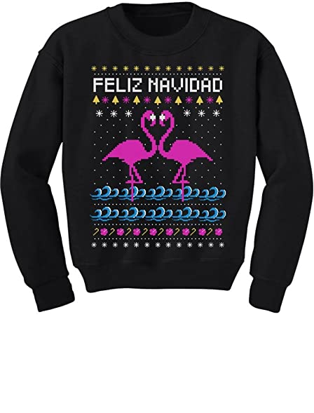 teestars feliz navidad flamingo ugly christmas sweater youth kids sweatshirt small black