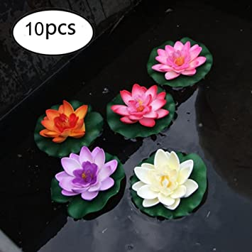 Tofree 10pcs Planta Artificial EVA Piscina Decoración Lotus Flores Artificiales: Amazon.es: Jardín