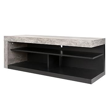 temahome meuble tv detroit gris bton noir mat